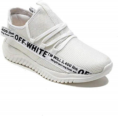 White Color Mesh Men Sports Shoes - AGARWALS-23020