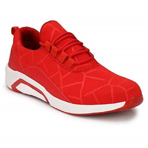 Red Color Mesh Men Sports Shoes - AGARWALS-23021