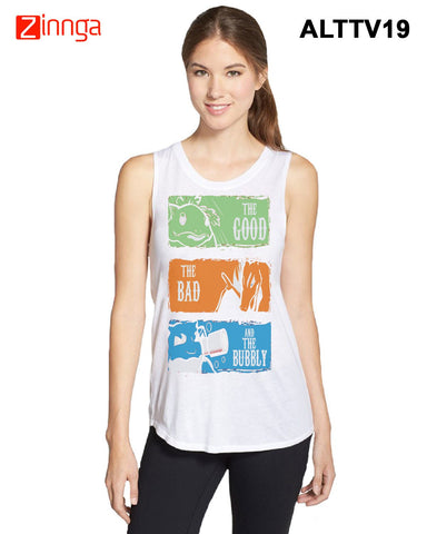 ALTAMOSS-Women's Stylish White Colored Polyester Tank Top- ALTTV19