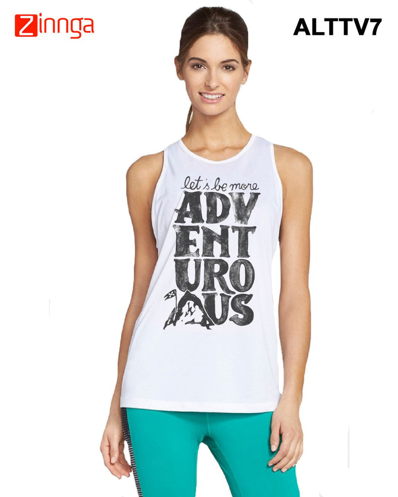 ALTAMOSS-Women's Stylish White Colored Polyester Tank Top- ALTTV7