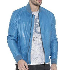 Buy Sky Blue Color Viscose Mens Jacket
