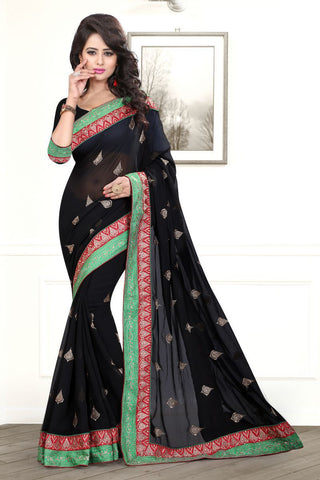 Black Color Chiffon Saree - AMARIA-413