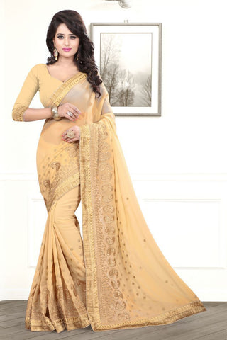 Chiku Color Georgette Saree - AMARIA-418