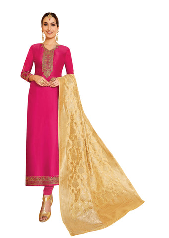 Pink Color Satin Georgette Women's Semi Stitched Salwar Suit - AMIRA-51903