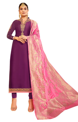 Purple Color Satin Georgette Women's Semi Stitched Salwar Suit - AMIRA-51905