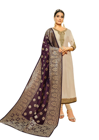Beige Color Satin Georgette Women's Semi Stitched Salwar Suit - AMIRA-51906
