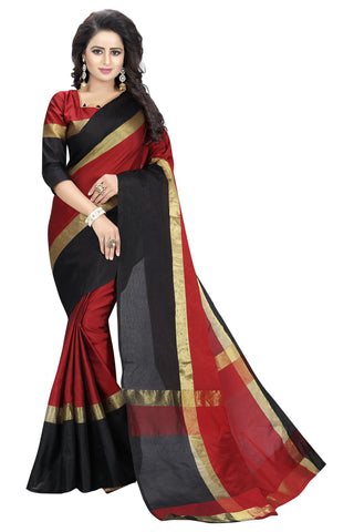 Maroon And Black Color Poly Cotton Saree - ANGE1