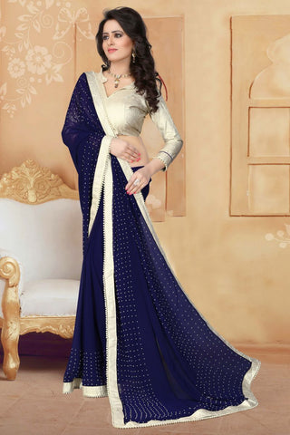Navy Blue Color Georgette Saree - ANTIQUE-1291