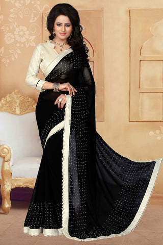 Black Color Georgette Saree - ANTIQUE-1292