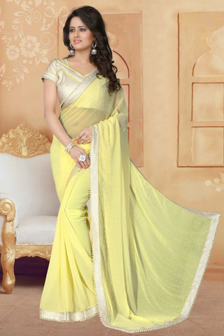 Lemon Yellow Color Georgette Saree - ANTIQUE-1297