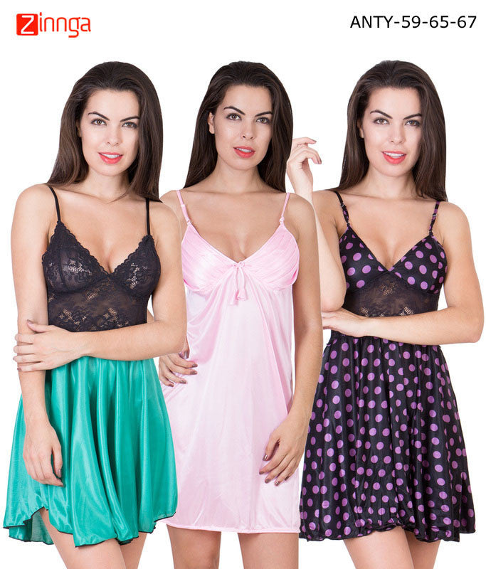 c831e00028 AMERICAN ELM-Women Stylish Multicolor Satin Pack of 3 Babydoll Nighty - ANTY -59-65-67