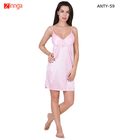 AMERICAN ELM-Women Stylish Pink Satin Babydoll Nighty - ANTY-59