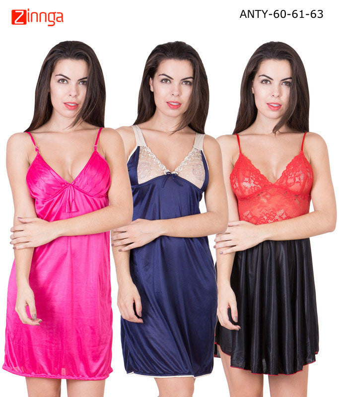 AMERICAN ELM-Women Stylish Multicolor Satin Pack of 3 Babydoll Nighty  - ANTY-60-61-63