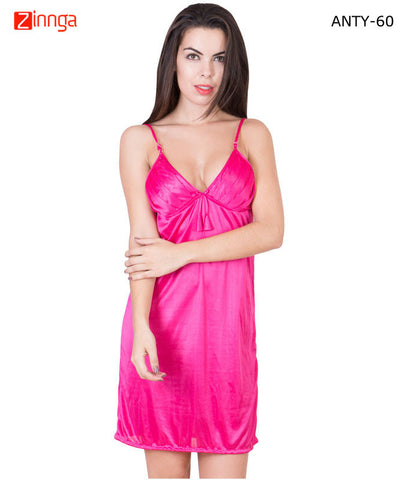 AMERICAN ELM-Women Stylish Pink Satin Babydoll Nighty - ANTY-60