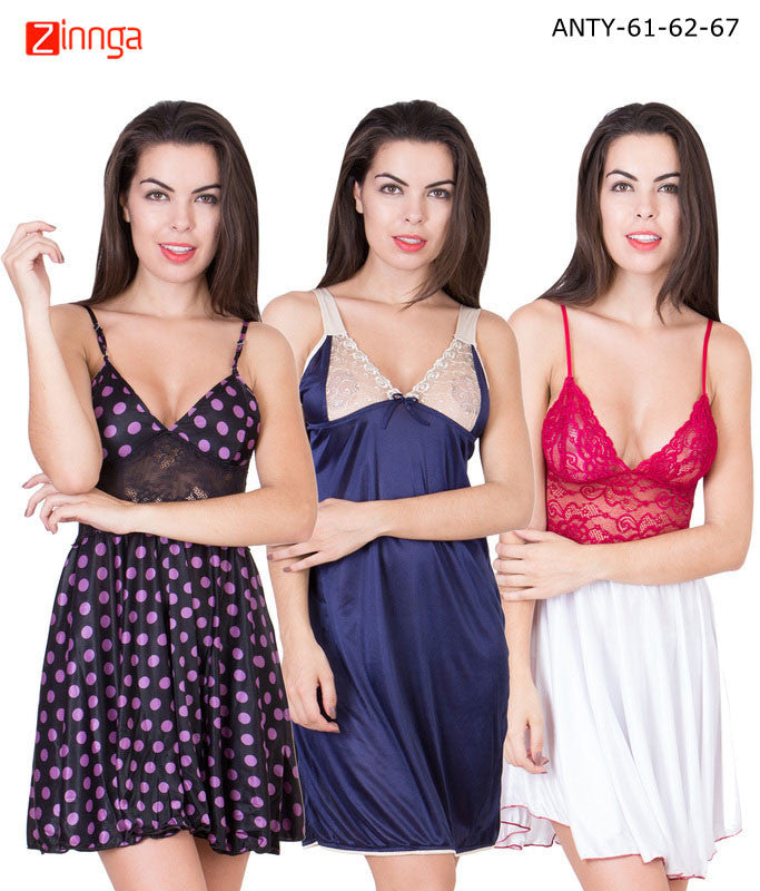 AMERICAN ELM-Women Stylish Multicolor Satin Pack of 3 Babydoll Nighty  - ANTY-61-62-67