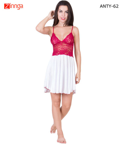 AMERICAN ELM-Women Stylish Multicolor Satin Babydoll Nighty - ANTY-62