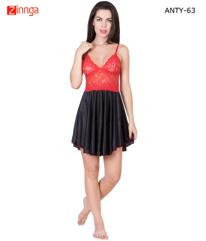 AMERICAN ELM-Women Stylish Multicolor Satin Babydoll Nighty - ANTY-63