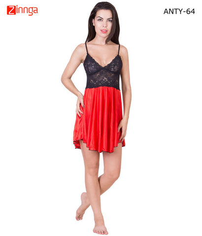 AMERICAN ELM-Women Stylish Multicolor Satin Babydoll Nighty - ANTY-64