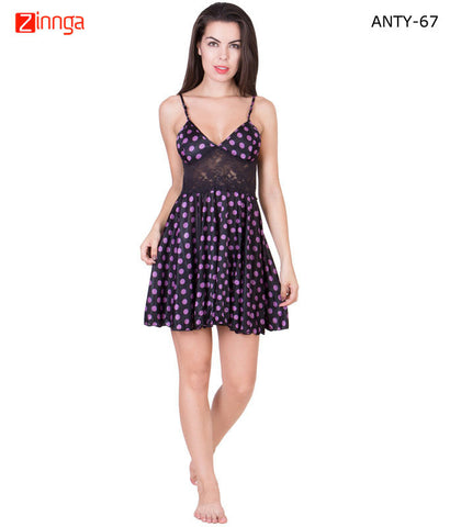 AMERICAN ELM-Women Stylish Multicolor Satin Babydoll Nighty - ANTY-67