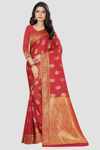 Baby Pink Color Banarasi Silk Women's Zari Work Saree - AP001