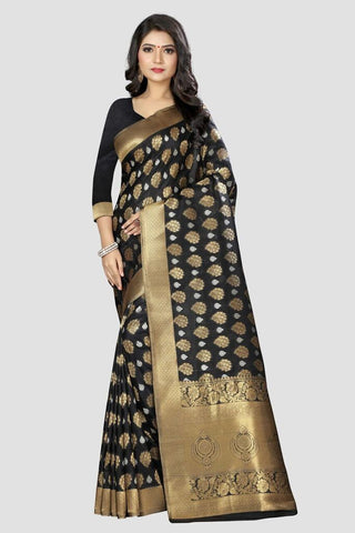 Black Color Banarasi Silk Women's Zari Work Saree - AP1002