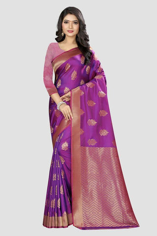 Purple Color Banarasi Silk Women's Zari Work Saree - AP781