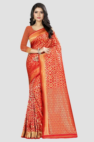 Peach Color Banarasi Silk Women's Zari Work Saree - AP820R