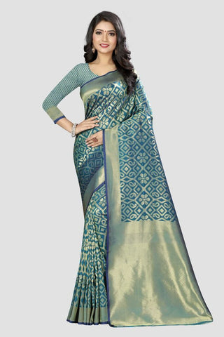 Blue Color Banarasi Silk Women's Zari Work Saree - AP820SP