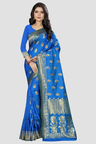 Blue Color Banarasi Silk Women's Zari Work Saree - AP876B