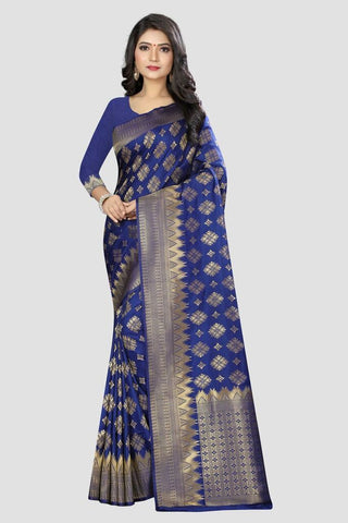Blue Color Banarasi Silk Women's Zari Work Saree - AP90010