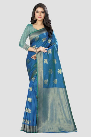 Blue Color Banarasi Silk Women's Zari Work Saree - AP907