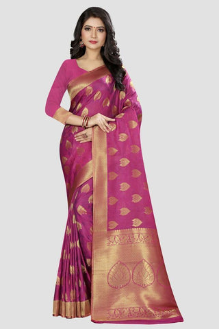 Purple Color Banarasi Silk Women's Zari Work Saree - AP986
