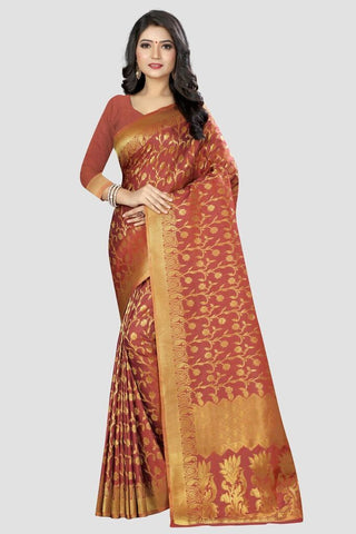 Peach Color Banarasi Silk Women's Zari Work Saree - AP989