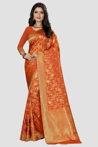 Orange Color Banarasi Silk Women's Zari Work Saree - AP997