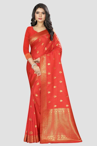 Peach Color Banarasi Silk Women's Zari Work Saree - APGP119R