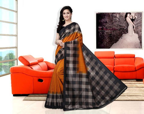 Yellow Color Art Silk Checks Saree  - APHA1031