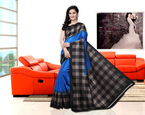 Blue Color Art Silk Checks Saree  - APHA1032