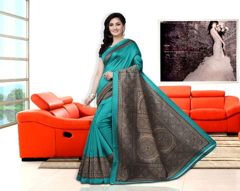 Blue Color Art Silk Bandhani Saree - APHA1034