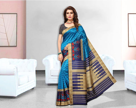 Blue Color Art Silk Lichi Saree - APHA1038