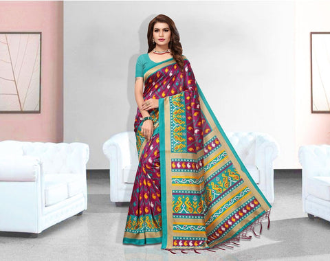 Blue Color Art Silk Lichi Saree - APHA1047