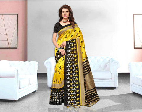 Yellow Color Art Silk Lichi Saree - APHA1051