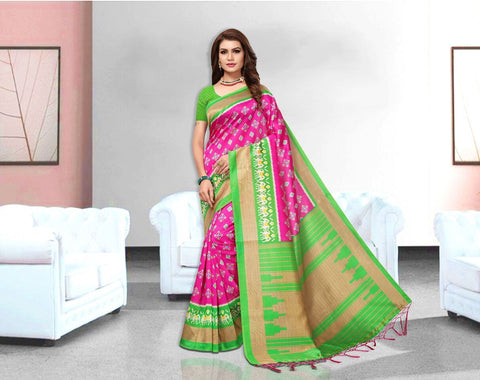 Pink Color Art Silk Lichi Saree - APHA1053