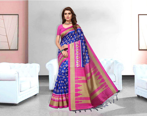 Blue Color Art Silk Lichi Saree - APHA1055
