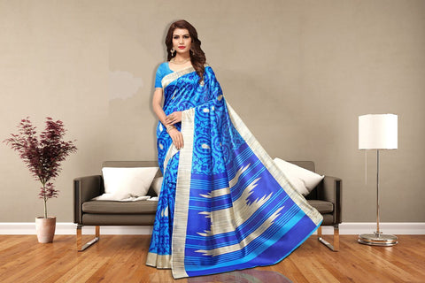 Blue Color Art Silk Lichi Saree - APHA1057