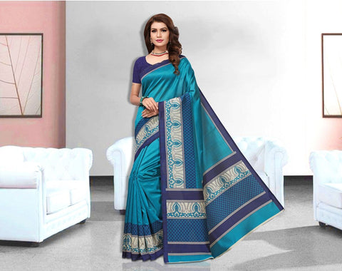 Blue Color Art Silk Lichi Saree - APHA1063