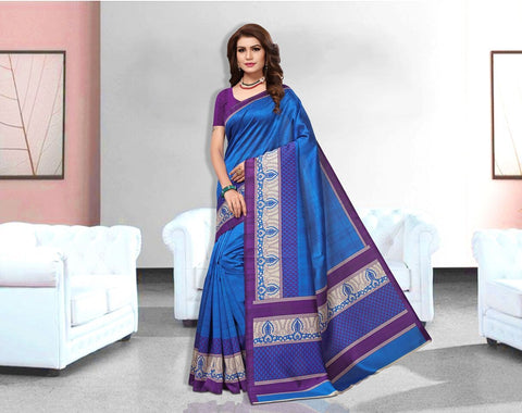 Blue Color Art Silk Lichi Saree - APHA1064