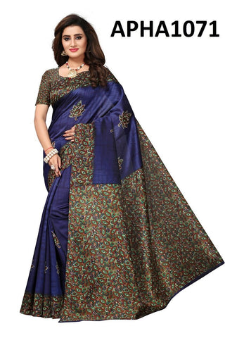 Blue Color Art Silk Lichi Saree - APHA1071