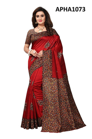 Red Color Art Silk Lichi Saree - APHA1073
