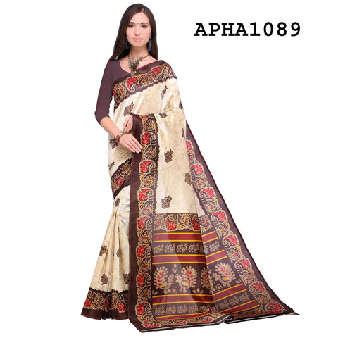 Brown and Cream Color Art Silk Saree - APHA1089