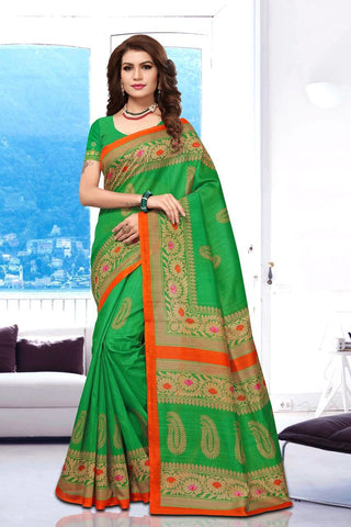 Parrot Green Color Art Silk BhagalPuri Saree - APHB2006